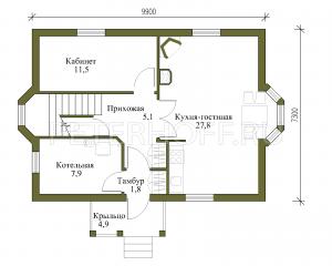 Планировка 1 этажа с увеличенной площадью