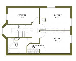 Планировка 2 этажа с увеличенной площадью