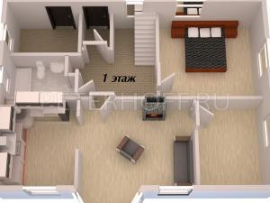 трехмерный план 1-го этажа-вид от эркера