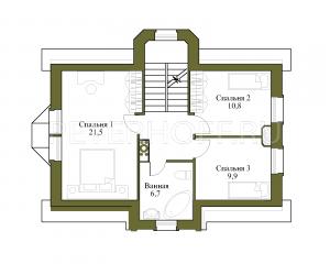 Вариант разделения большой спальни 3 этажа на 2 маленьких