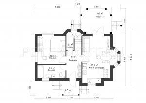 Планировка первого этажа с террасой
