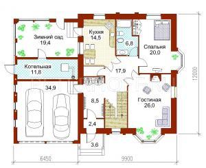 План 1 этажа в цвете с мебелью