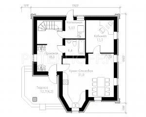план 1этажа-стены из газобетона-кухня-столовая на 1 эт.