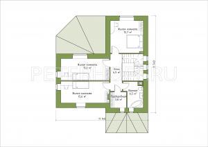 Планировка 2-го этажа (вариант 1 с тремя комнатами)