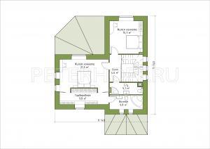 Планировка 2-го этажа (вариант 2 с двумя комнатами)