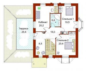 План 2 этажа в цвете с мебелью