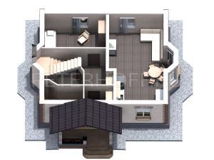 План первого этажа в объёме. Вид на вход в дом.