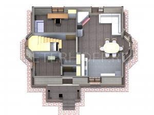 3D планировка первого этажа