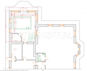 Опция - пристройка бассейна за объемом гаража-котельной (фрагмент плана)