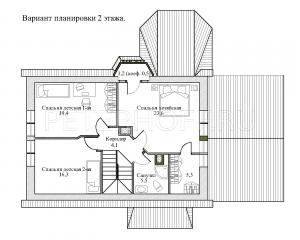 План 2 этажа. Вариант с гардеробной хозяев и увеличенной детской.