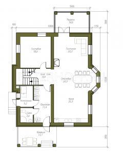 План 1 этажа с накрытой террасой - опция